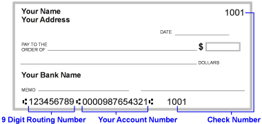 example of check showing routing number, account and check number